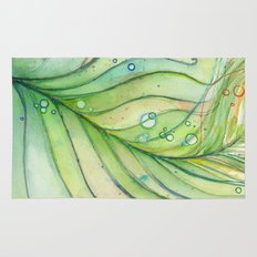 Green Watercolor Peacock Feather and Bubbles Rug