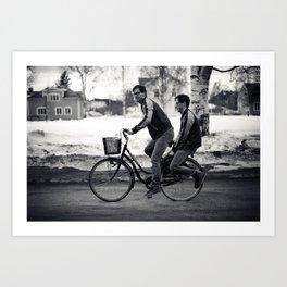 Bike riding Art Print