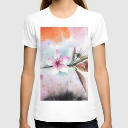 Decorative Peach Flower Bloom Watercolor Painting T-shirt