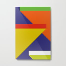 Random colored parallelepipeds flying in a cool blue space Metal Print