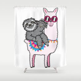 Sloth Music Llama Shower Curtain