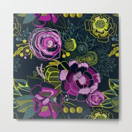Embroidered Florals Metal Print