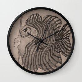CURLY B/W Wall Clock