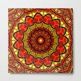 Mandala red Flower 29 Metal Print