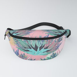 Tropical Mint Foliage Modern Pink Design Fanny Pack
