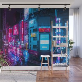 Post Apocalyptic Neon City Blues  - Tokyo Wall Mural