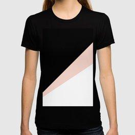 Elegant blush pink & black geometric triangles T-shirt