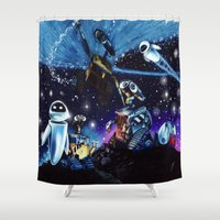 wall e Shower Curtains featuring Wall-E Collage by artbywilliam