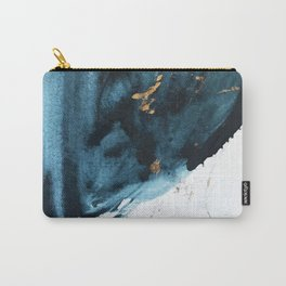 A Minimal Sapphire and Gold Abstract piece in blue white and gold by Alyssa Hamilton Art  Carry-All Pouch