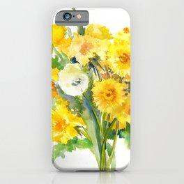 Dandelion Flowers, Herbal, herbs, field flowers, yellow floral design iPhone Case