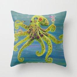 Gloria Glamourpus Octopus Throw Pillow