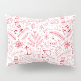 Doodle Christmas pattern red Pillow Sham