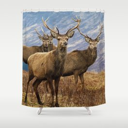 The four stags on the loch Shower Curtain