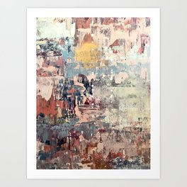 Mirage [1]: a vibrant abstract piece in pinks blues and gold by Alyssa Hamilton Art Art Print