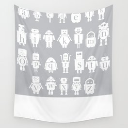 Robot Alphabets in Grey Wall Tapestry