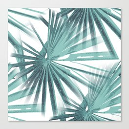 Teal Aqua Tropical Beach Palm Fan Vector Canvas Print