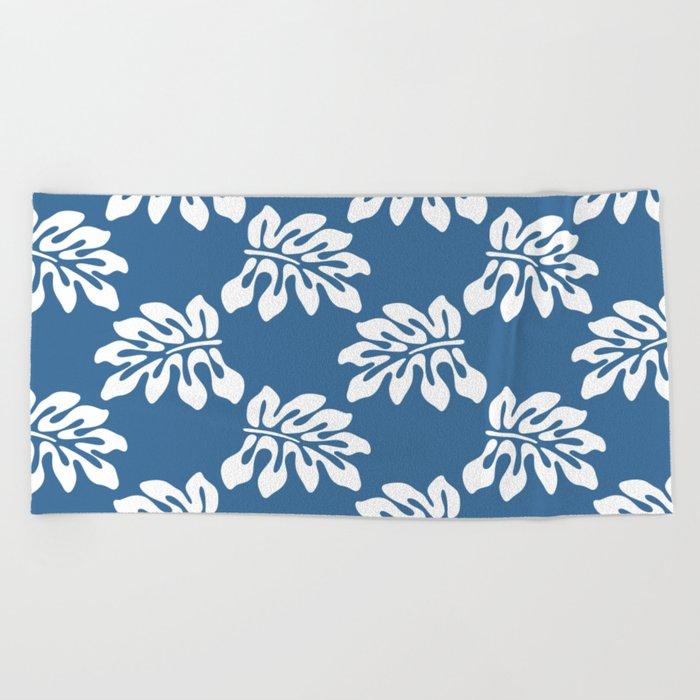 Blue White Tropical Leaf Pattern Beach Towel