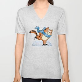 Spotted Ginger Cat with Scarf Ice Skating on Pond Unisex V-Neck