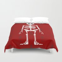 skeleton Duvet Covers featuring Skeleton by Emma Harckham