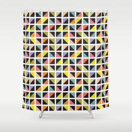 Geometric Pattern 241 (multicolored triangle boxes) Shower Curtain