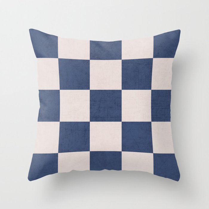 blue checks Throw Pillow