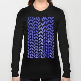Cute watercolor knitting pattern - blue Long Sleeve T-shirt