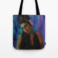 amy poehler Tote Bags featuring Amy by Darla Designs