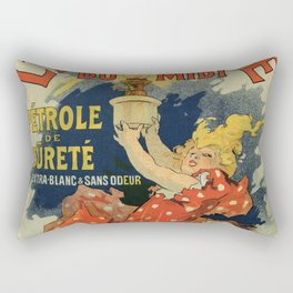 Vintage French lamp oil ad by Chéret Rectangular Pillow