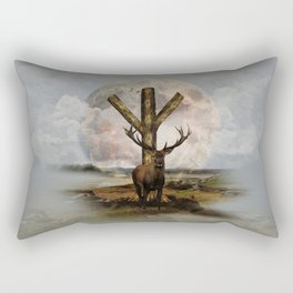 Algiz  Rune and Deer Digital Art Collage Rectangular Pillow