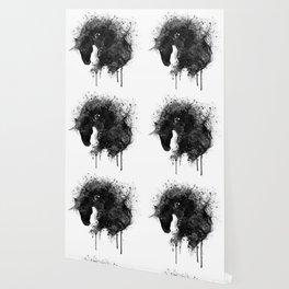 Black and White Horse Head Watercolor Silhouette Wallpaper