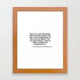 My courage always rises - Jane Austen Framed Art Print