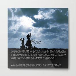 The little prince and the fox - dream version blue - quote Metal Print