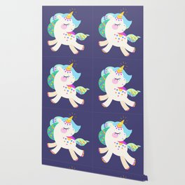 Cute unicorn with colorful mane and tail Wallpaper