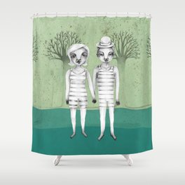 gymnast couple in the forest Shower Curtain