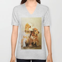 two dogs spaniel Unisex V-Neck