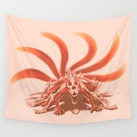 naruto Wall Tapestries featuring Naruto Kyuubi Mode by Prince Of Darkness