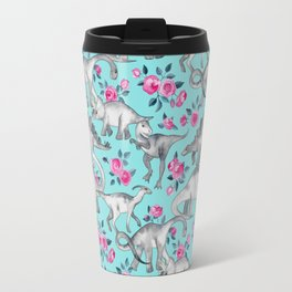 Dinosaurs and Roses - turquoise blue Travel Mug