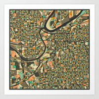 kansas city Art Prints featuring KANSAS CITY MAP by Jazzberry Blue