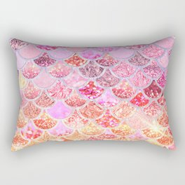 Rosegold & Gold Trendy Glitter Mermaid Scales Rectangular Pillow