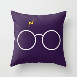 Harry Glasses - Potter Magic Purple Throw Pillow