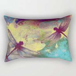 Painting Orchids and Dragonflies Rectangular Pillow
