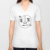 mouth V-neck T-shirts featuring Mouth by Erik Walker