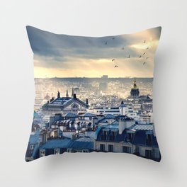 Rooftops in Paris Throw Pillow