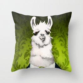 Formal Llama - Green Throw Pillow