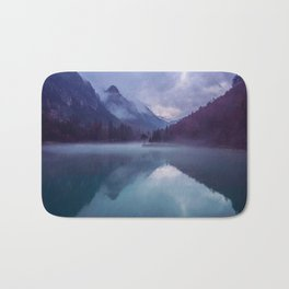 Mountain Valley Lake Purple And Blue Colors Bath Mat