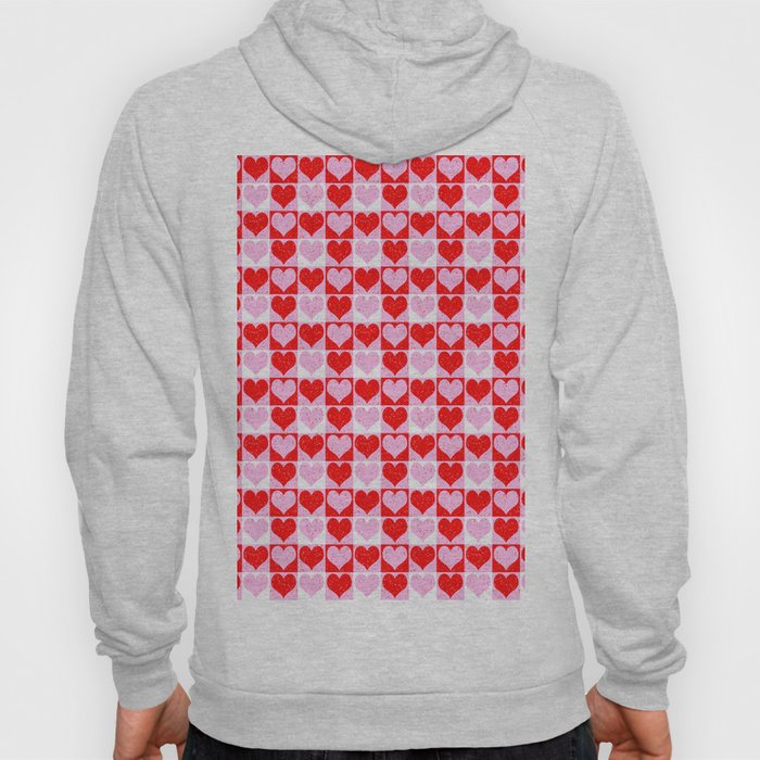 Love Heart Red Pink and White Check Pattern Hoody