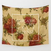 sarcasm Wall Tapestries featuring sarcasm is my only defense by bitchyvulcans