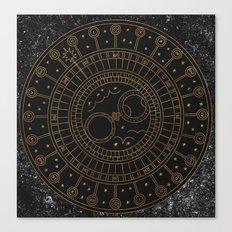 Glaston Abbey Clock Canvas Print
