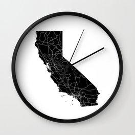 California Black Map Wall Clock