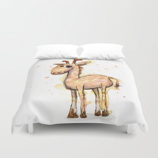 Giraffe Funny Watercolor Painting  Duvet Cover